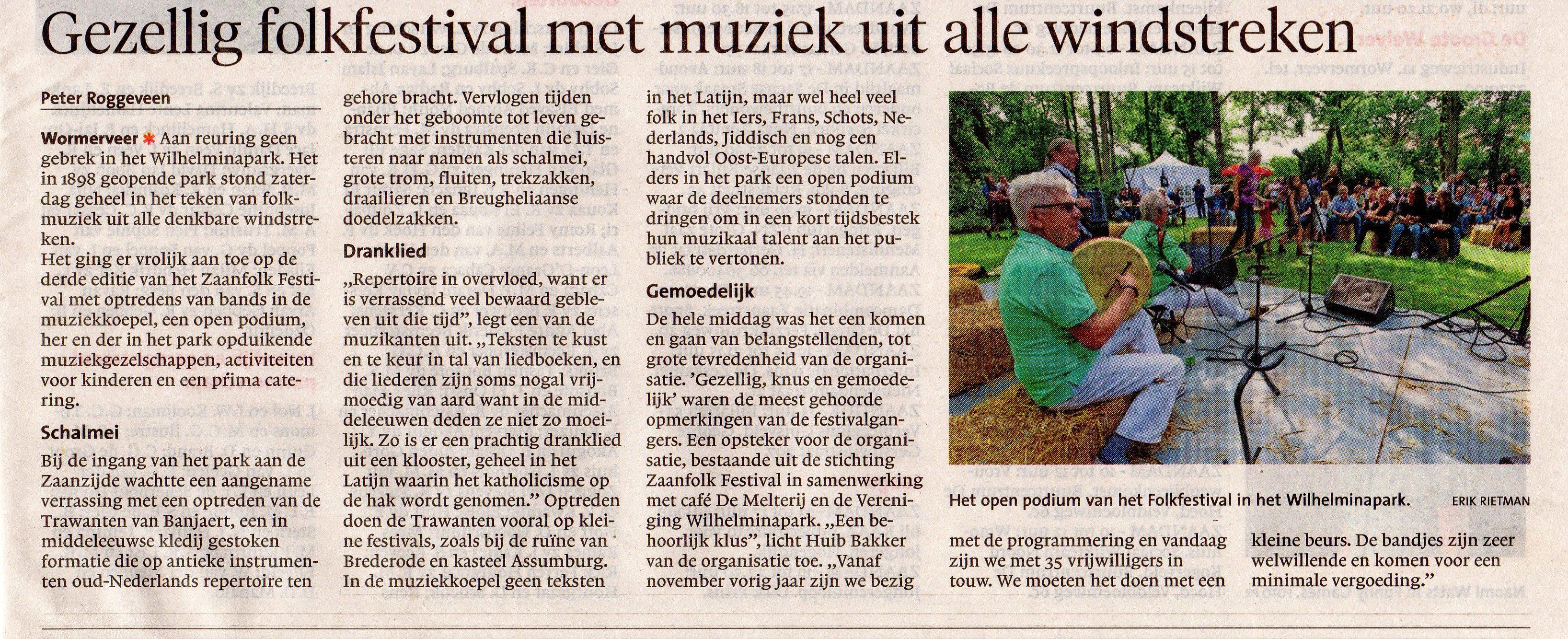 Dagblad Zaanstreek - ZaanFolk Festival 2017